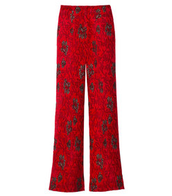 red & black floral wide-leg pant
