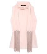 shell pink fringe scarf blouse