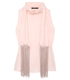shell pink fringe scarf blouse