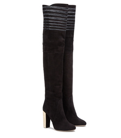 over-the-knee suede boots with lamé embroidery