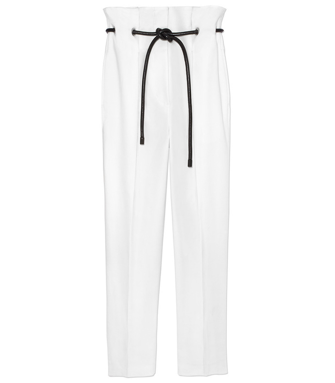 white origami pleated pant