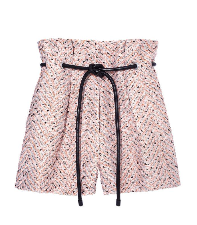 light pink tweed 'origami' shorts