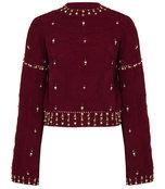 cabernet embellished bell sleeve sweater