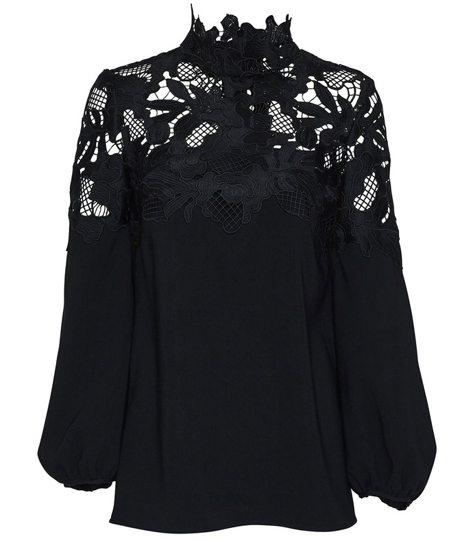 black lace yoke blouse