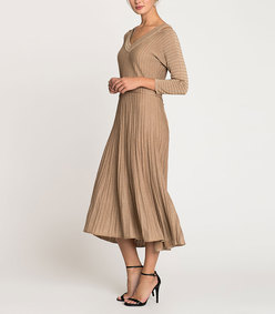 sleeved shimmer pleats dress