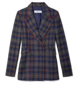 navy plaid angela blazer