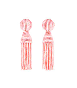 pink beaded tassle earrings