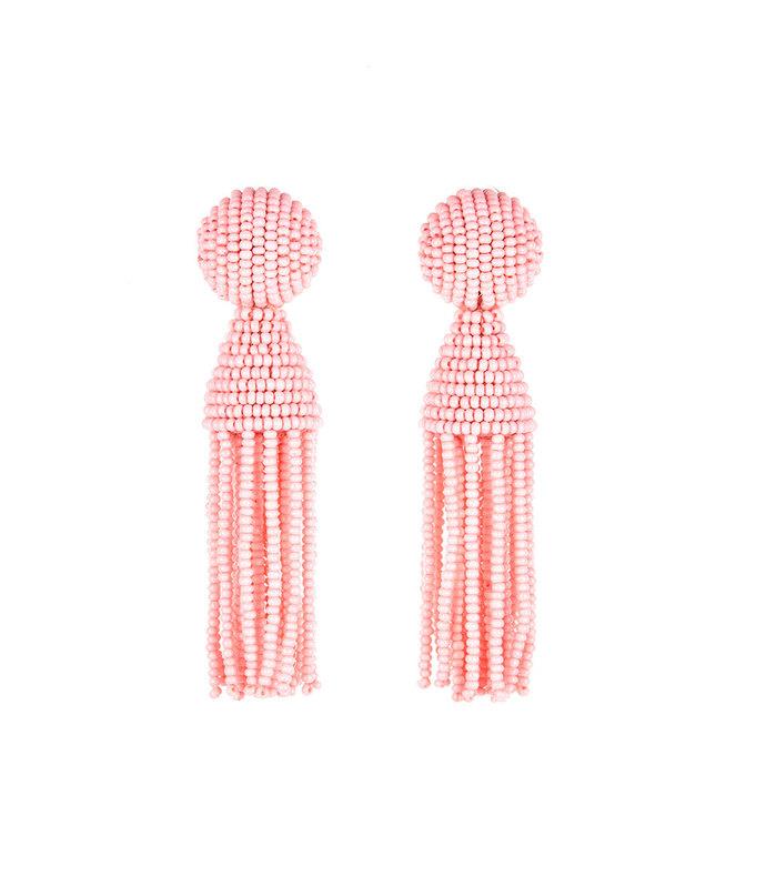pink beaded tassle earrings