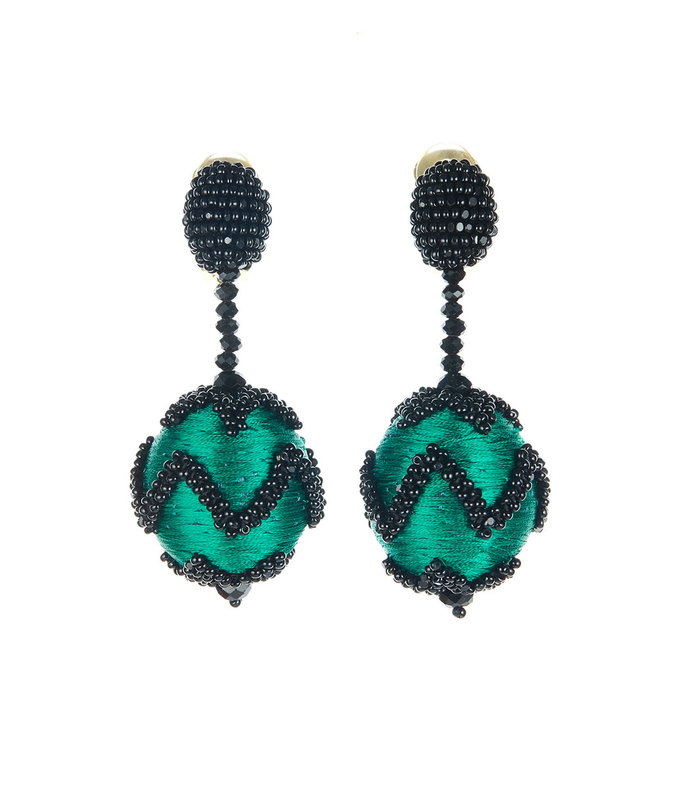 emerald beaded chevron earrings