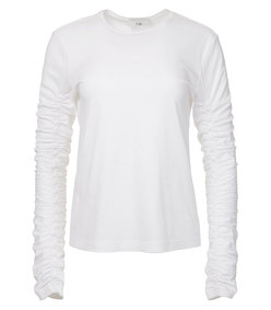 white mercerized knit ruched sleeve tee