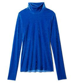 blue stretch velvet slim turtleneck