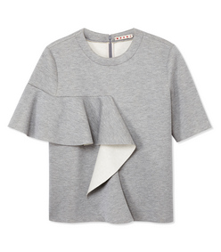 ShopBazaar Marni Gray Ruffle Sweatshirt MAIN