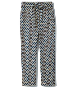 printed black silk trousers