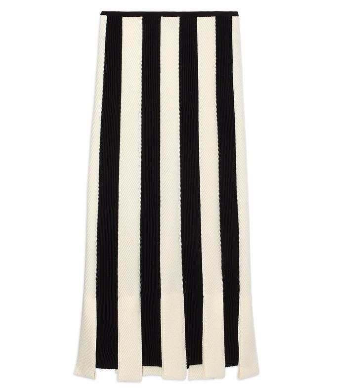 black & white stripe knit skirt
