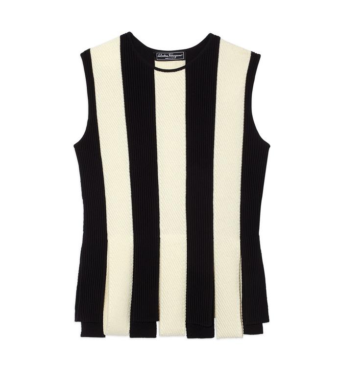 black & white stripe knit top