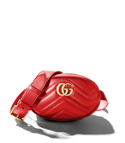 red gg marmont matelass leather belt bag