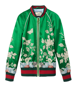 ShopBazaar Gucci Silk Floral Bomber Jacket MAIN