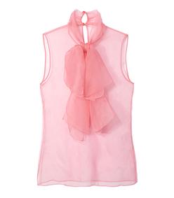 ShopBazaar Gucci Pink Organza Bow Detail Blouse MAIN