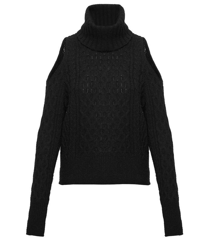 black cold shoulder cable knit