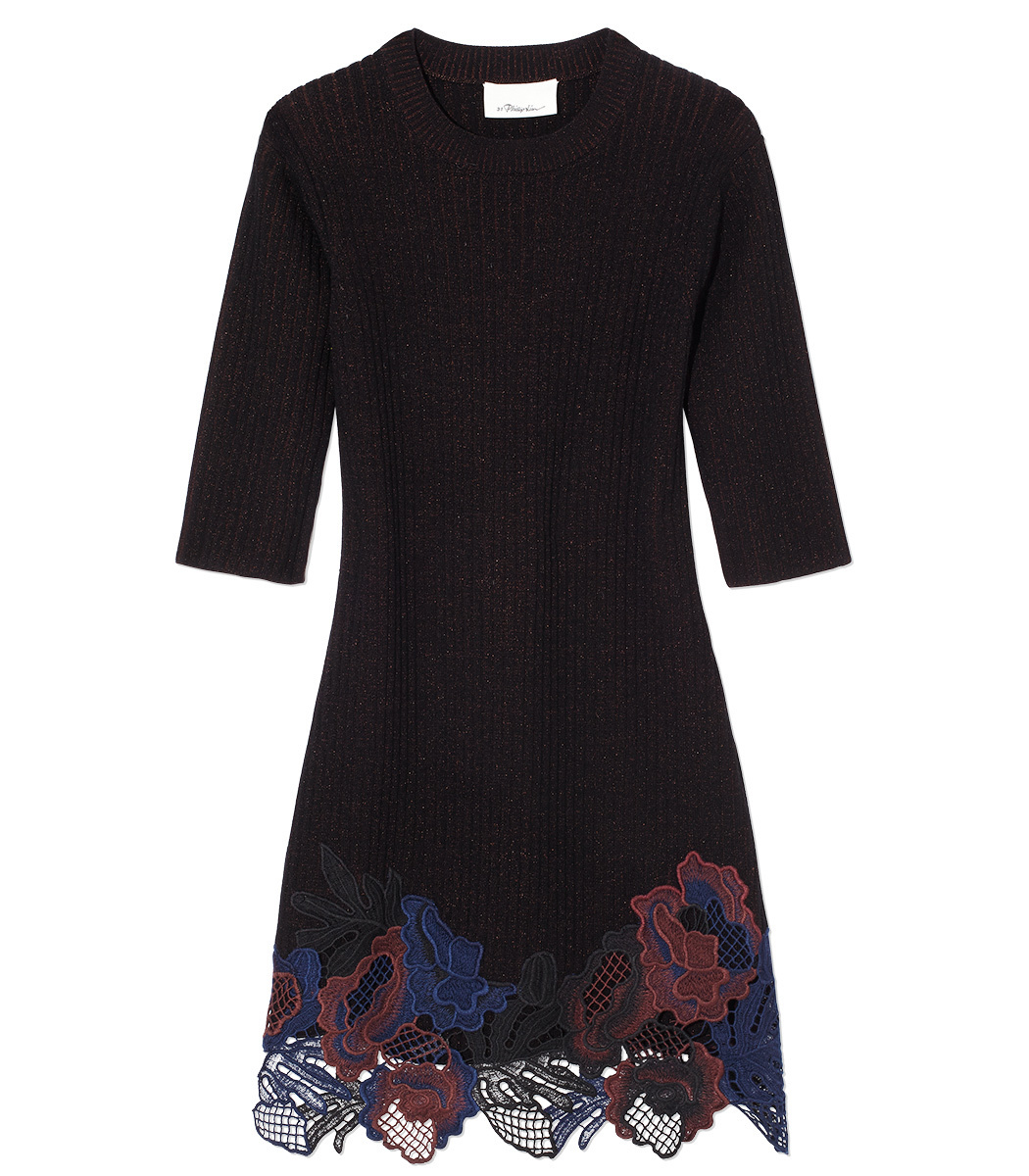 3.1 Phillip Lim  Burgundy Knit & Lace Dress