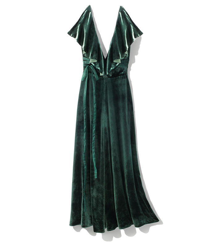 green ruffle velvet dress