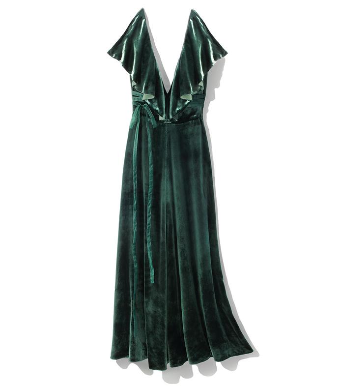 green ruffle velvet dress