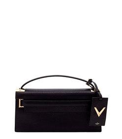 ShopBazaar Valentino Black 'My Rockstud' Stamped Clutch MAIN