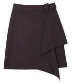 black cascading belted skirt