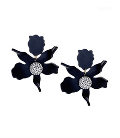 jet black crystal 'lily' earrings