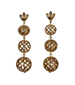 gold tiered pineapple earrings