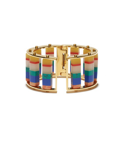 striped hinged barrel slider bracelet