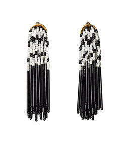 black & white striped fringe earrings