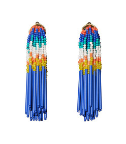 island hue striped fringe earrings