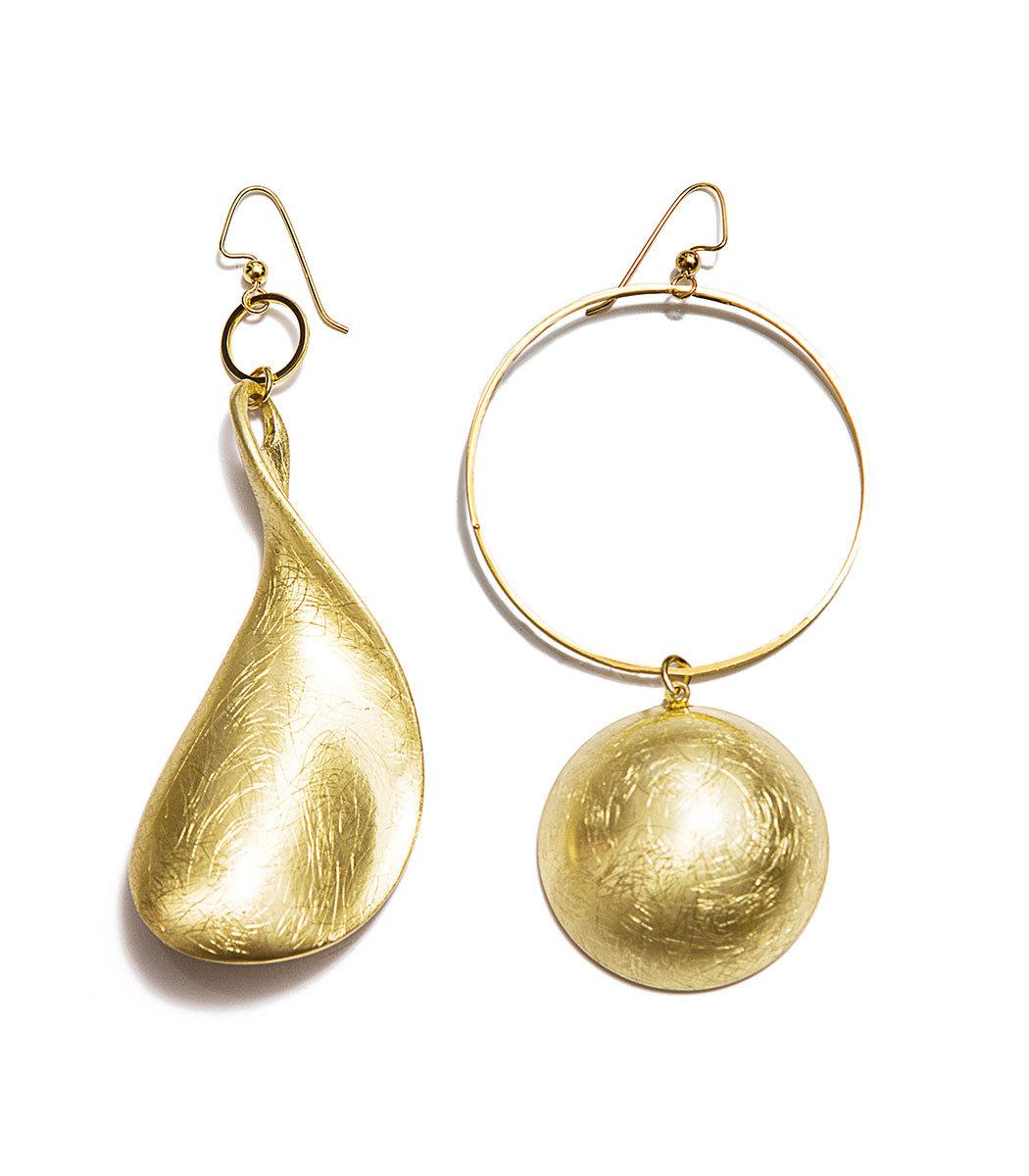 MOUNSER JEWELRY Gold Lunar Asymmetric Earrings