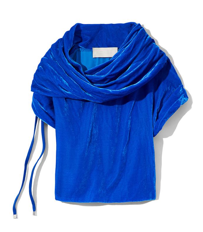 blue draped velvet top