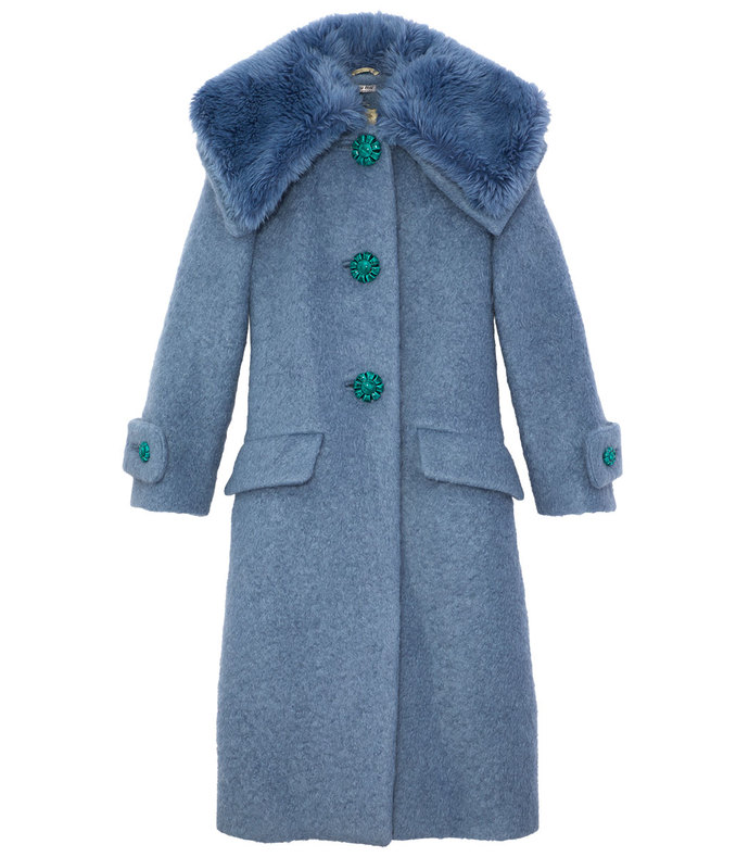 blue wool boucle coat