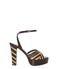ShopBazaar Valentino Metallic Striped Platform Sandal MAIN