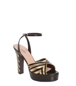 ShopBazaar Valentino Metallic Striped Platform Sandal FRONT