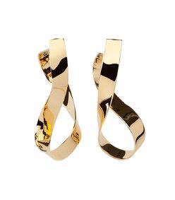gold medium thick script earrings