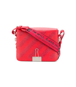 red industrial tape shoulder strap bag