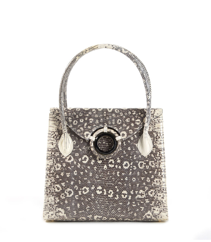 thompson 'o' tote, black & white ring lizard