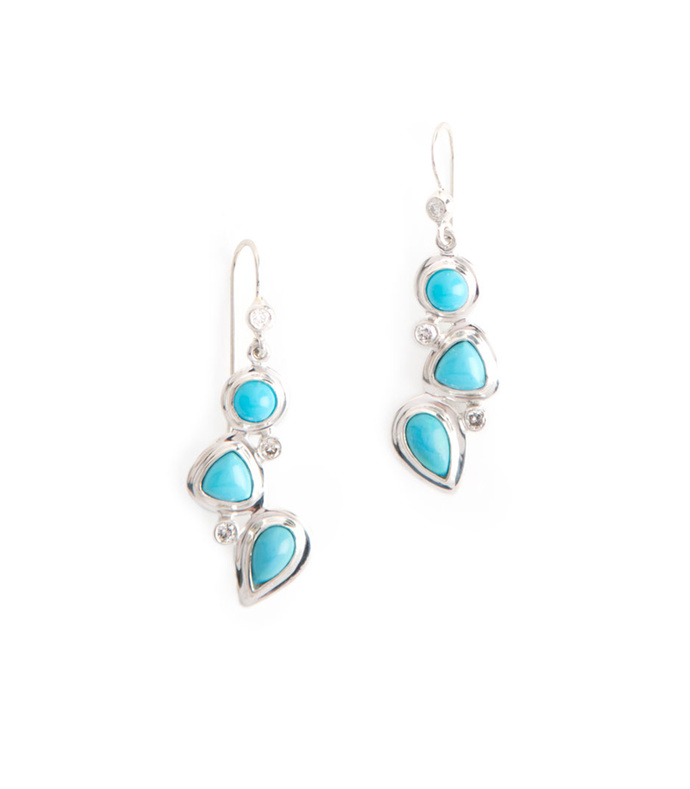 mosaic 3-stone earrings