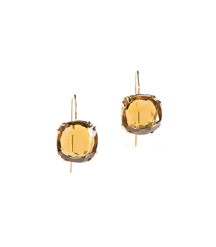 quartz cushion cut - 14k earrings