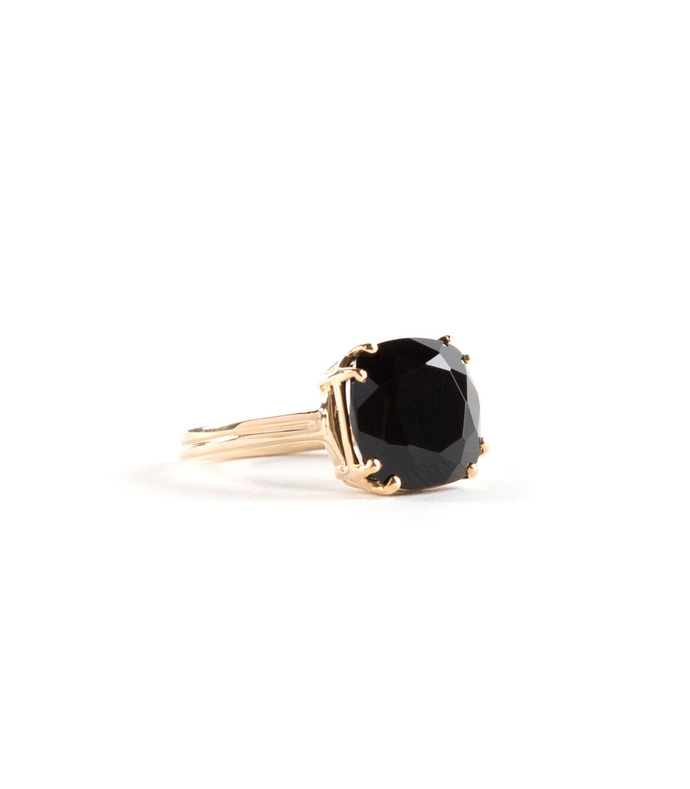 onyx cushion cut 14k yellow gold cocktail ring, black