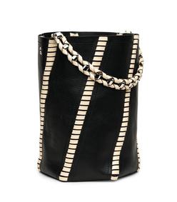 black & ecru whipstitch 'hex' bucket bag