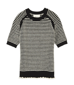 black & white short sleeve top