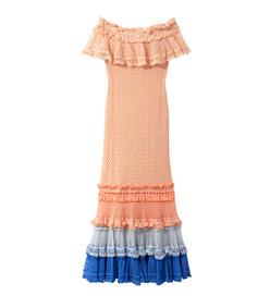 blush ruffle crochet off-shoulder gown