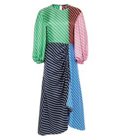 delphina multi stripe shirred long dress