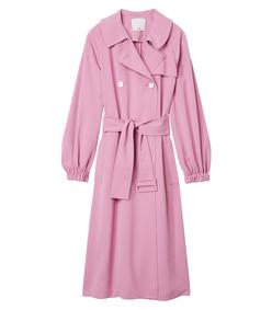 pink drape twill trench