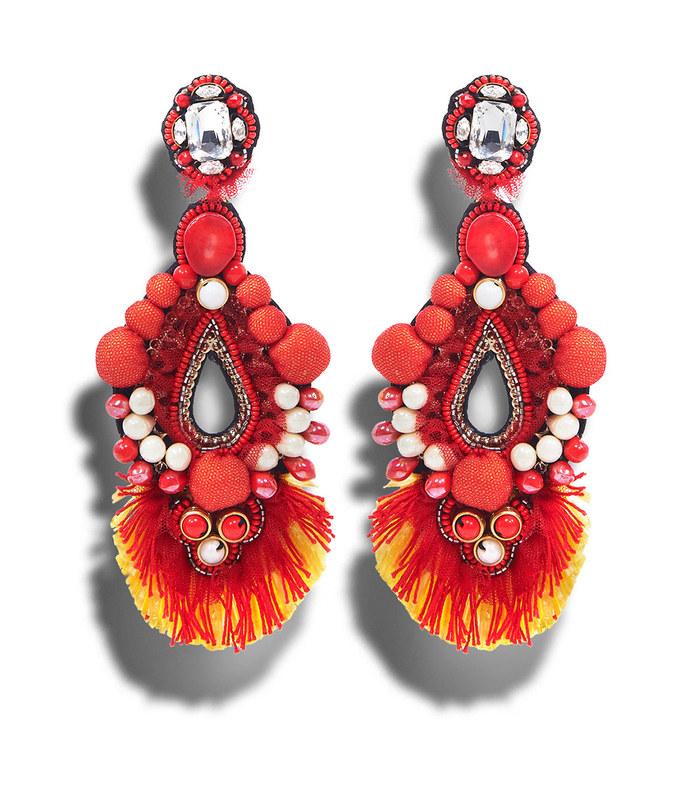 red drop beaded earrings